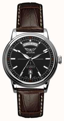 Aviator Mens de cuero marrón de douglas correa de cuero negro dial V.3.20.0.142.4