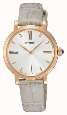 Seiko Reloj de mujer chapado en oro rosa SFQ812P1