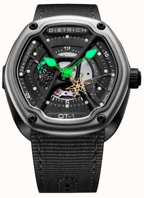 Dietrich Orgánica tiempo satén negro caso correa de tela negro OT-1