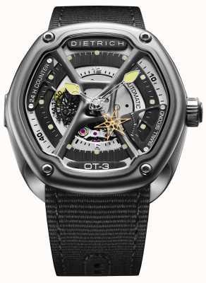 Dietrich Orgánica tiempo satinado acero caja correa de tela negro OT-3