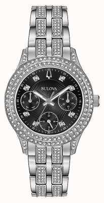 Bulova Reloj cronógrafo negro de cristal para mujer 96N110