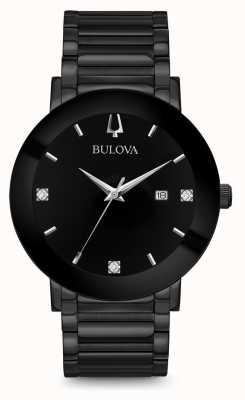 Bulova Reloj de diamante moderno para hombre negro 98D144