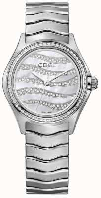 EBEL Reloj de acero inoxidable del diamante de la onda 94 de las mujeres 1216270