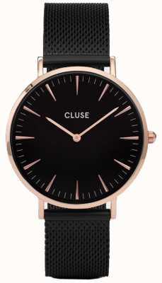 CLUSE Womans la bohème rosa de oro negro malla pulsera CL18034