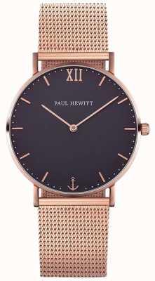 Paul Hewitt Pulsera de malla de oro rosa marinero unisex PH-SA-R-ST-B-4M