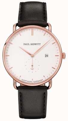 Paul Hewitt Unisex el gran atlántico correa de cuero negro PH-TGA-R-W-2M