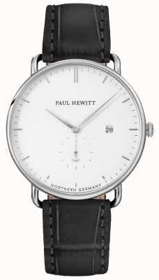Paul Hewitt Unisex el gran atlántico correa de cuero negro PH-TGA-S-W-15M