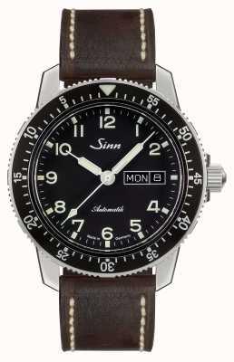 Sinn 104 st sa un reloj piloto clásico cuero marrón oscuro de la vendimia 104.011