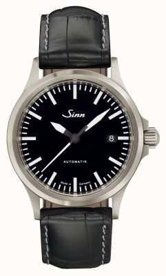 Sinn 556 i deportes de cristal de zafiro negro cuero de cocodrilo en relieve 556.010-BL44201851001225403A