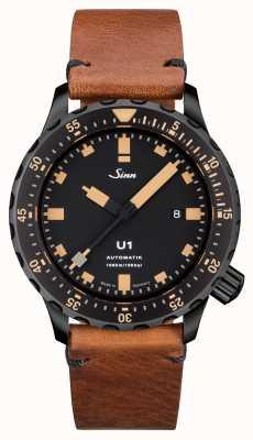 Sinn U1 se u-barco de acero cosecha de cuero marrón v-stitch 1010.023