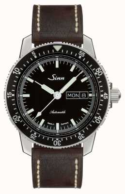 Sinn 104 st sa i reloj de piloto clásico cuero marrón oscuro de la vendimia 104.010