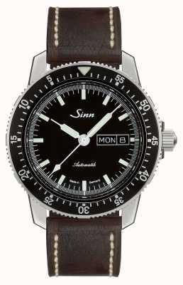 Sinn 104 st sa i reloj de piloto clásico cuero marrón oscuro de la vendimia 104.010-BL50202002007125401A