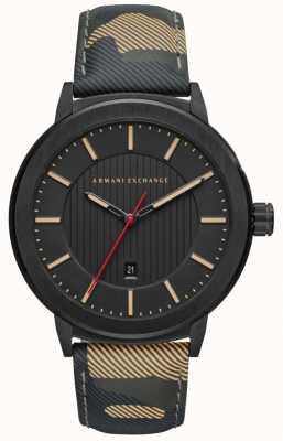 Armani Exchange Correa de camuflaje para hombre, reloj de esfera negro AX1460