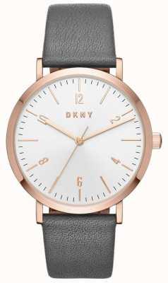 DKNY Reloj de cuero gris minetta para mujer NY2652