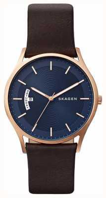 Skagen Mens de cuero marrón reloj azul detalle de dial SKW6395