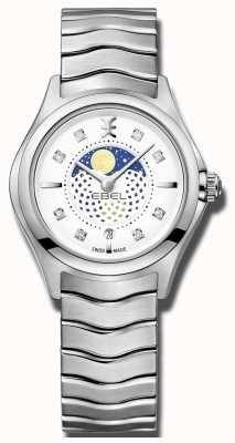 EBEL Reloj de mujer de acero inoxidable con onda lunar de fase lunar. 1216372