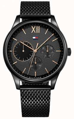 Tommy Hilfiger Reloj de malla para hombre negro damon IP 1791420