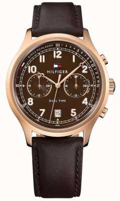Tommy Hilfiger Mens emerson reloj de cuero marrón correa 1791387