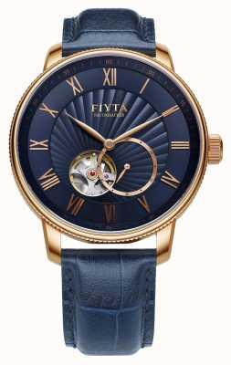 FIYTA Reloj de cuero azul automático para hombre GA860015.PLL