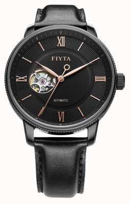 FIYTA Reloj para hombre de cuero negro para hombre GA860013.BBB