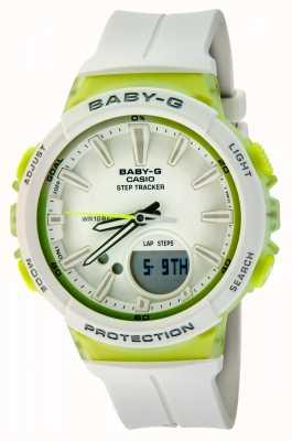 Casio Reloj verde / blanco del rastreador del paso del bebé-g de las mujeres BGS-100-7A2ER