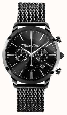 Thomas Sabo Reloj crono negro de acero inoxidable para hombre WA0291-287-203-42