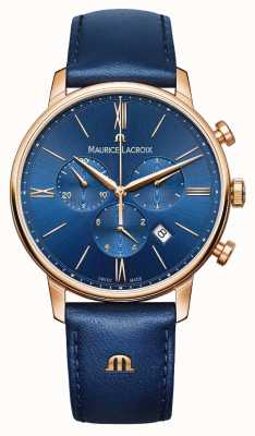 Maurice Lacroix Reloj cronógrafo azul y oro Eliros EL1098-PVP01-411-1