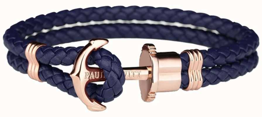 Paul Hewitt Jewellery Phrep rosa oro ancla marina brazalete de cuero medio PH-PH-L-R-N-M
