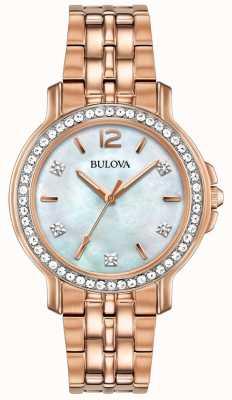 Bulova Reloj de mujer de tono dorado rosa 98L243