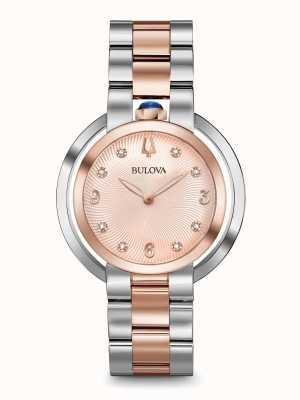 Bulova Mujeres rubaiyat dos tonos rosa reloj de oro 98P174