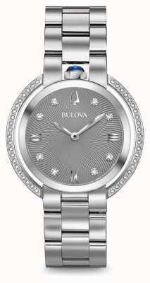 Bulova Womans rubaiyat plata reloj de diamantes tono 96R219
