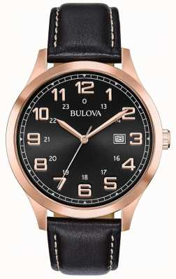 Bulova Reloj para hombre reloj cuero negro rosa dorado 97B164