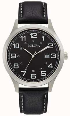 Bulova Reloj de vestir para hombre caja de acero de cuero negro 96B276