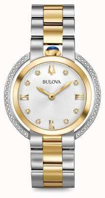 Bulova Womens rubaiyat reloj de dos tonos de diamantes 98R246