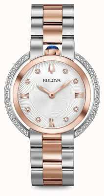 Bulova Womens rubaiyat reloj de dos tonos de diamantes 98R247