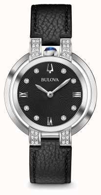 Bulova Womans rubaiyat negro correa de cuero conjunto de diamantes 96R217