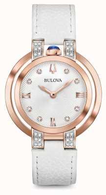Bulova Womans rubaiyat blanco correa de cuero conjunto de diamantes 98R243