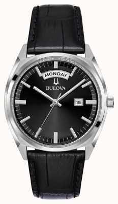 Bulova Reloj de vestir de cuero negro para hombre 96C128