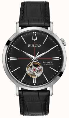 Bulova Reloj automático de cuero negro para hombre 96A201