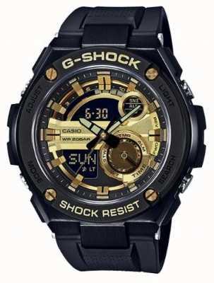 Casio G-acero negro y correas de goma de oro mens g-shock GST-210B-1A9ER