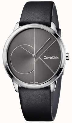 Calvin Klein Correa de cuero negro unisex minimal watch K3M211C3