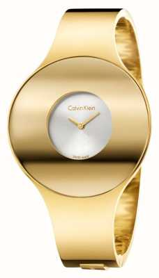 Calvin Klein Womans oro tono reloj transparente pequeño K8C2S516