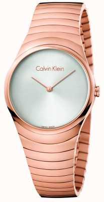 Calvin Klein Reloj de giro de acero inoxidable de titanio rosa de Womans K8A23646