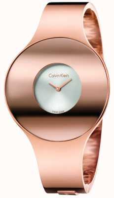 Calvin Klein Womans subió el tono de oro reloj transparente pequeño K8C2S616