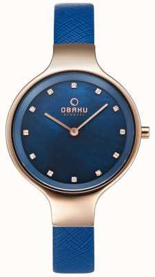Obaku Reloj Womans sky navy y oro rosa V173LXVLRA