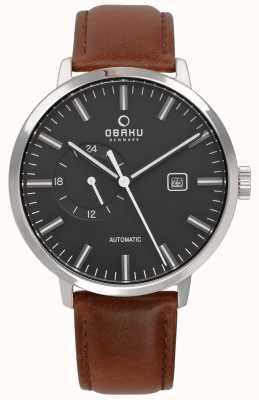 Obaku Reloj de correa de cuero automático utrolig para hombre v210GTCBRN