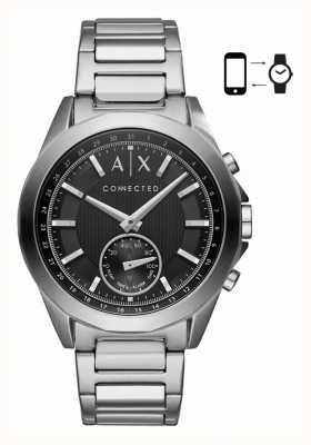 Armani Exchange Pulsera de pulsera de acero inoxidable para hombre, reloj negro híbrido AXT1006