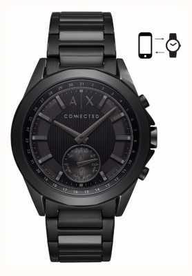 Armani Exchange Mens híbrido smartwatch hierro plateado pulsera dial negro AXT1007