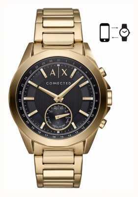 Armani Exchange Mens híbrido smartwatch oro tono pulsera dial negro AXT1008