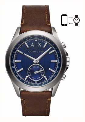 Armani Exchange Correa de cuero marrón para hombre smartwatch marca azul AXT1010